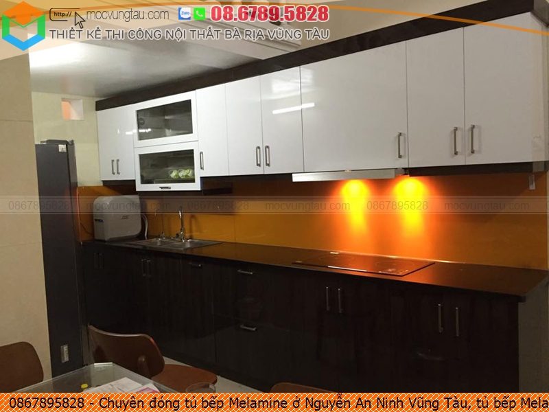 Chuyên đóng tủ bếp Melamine ở Nguyễn An Ninh Vũng Tàu, tủ bếp Melamine đẹp Nguyễn An Ninh Vũng Tàu chuyên nghiệp liên hệ SĐT 086789.5828