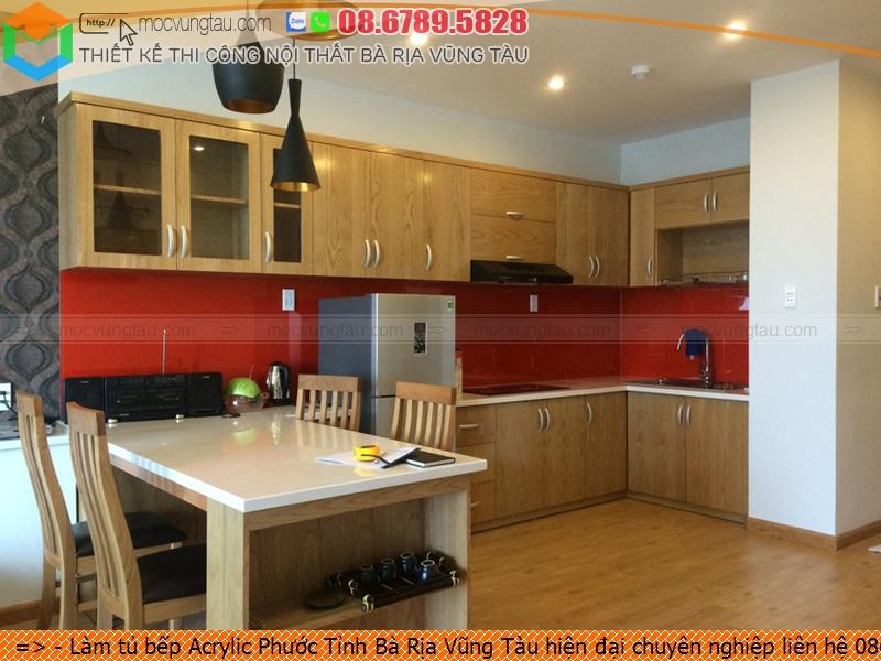Làm tủ bếp Acrylic Phước Tỉnh Bà Rịa Vũng Tàu hiện đại chuyên nghiệp liên hệ 086789.5828