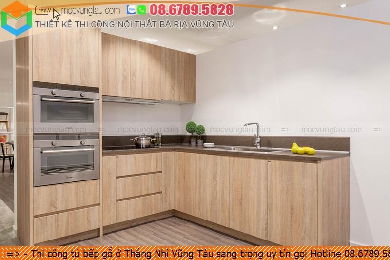 Thi công tủ bếp gỗ ở Thắng Nhì Vũng Tàu sang trọng uy tín gọi Hotline 08.6789.5828